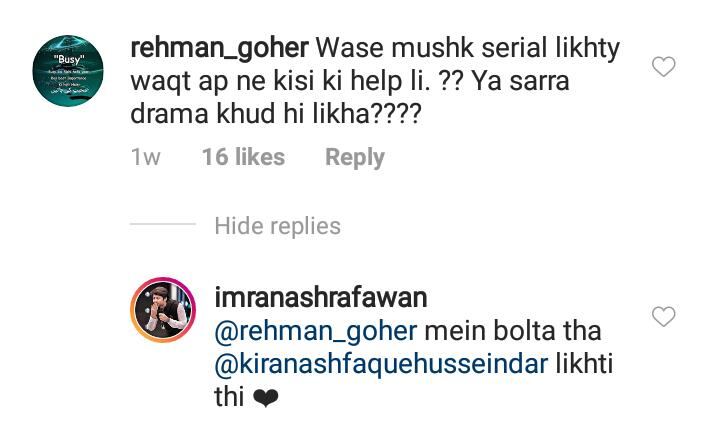 Imran Ashraf Reveals The Person Who Helped Him In Writing Mushk