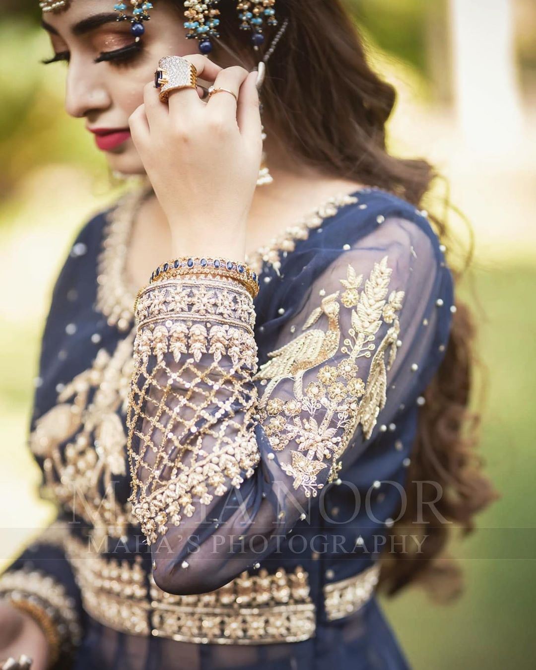 Actress Nawal Saeed Looking Gorgeous in Navy Blue Bridal Dress Shoot