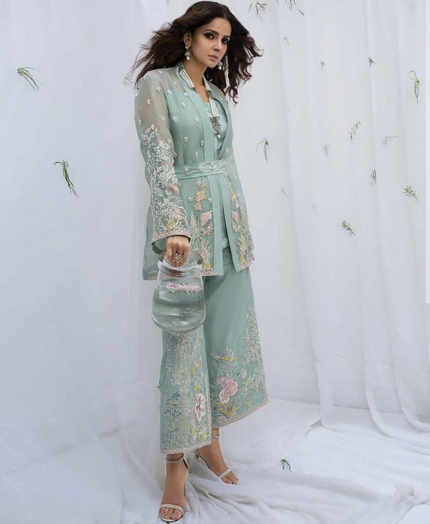 Saba Qamar Stuns In Formal Dresses