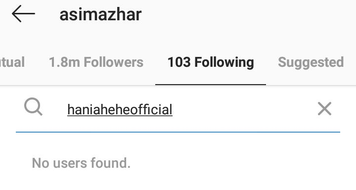 Why Hania Aamir And Asim Azhar Unfollowed Each Other