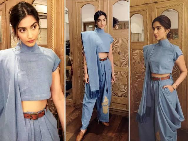 Yashma Gill Wore Exact Denim Saree Like Sonam Kapoor