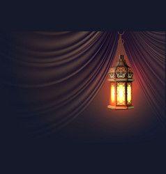 ramadan kareem lantern realistic curtain