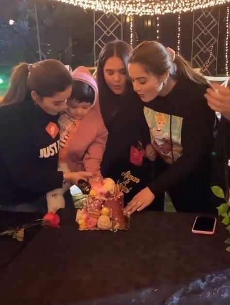 Aiman Khan and Minal khan Birthday with Amal