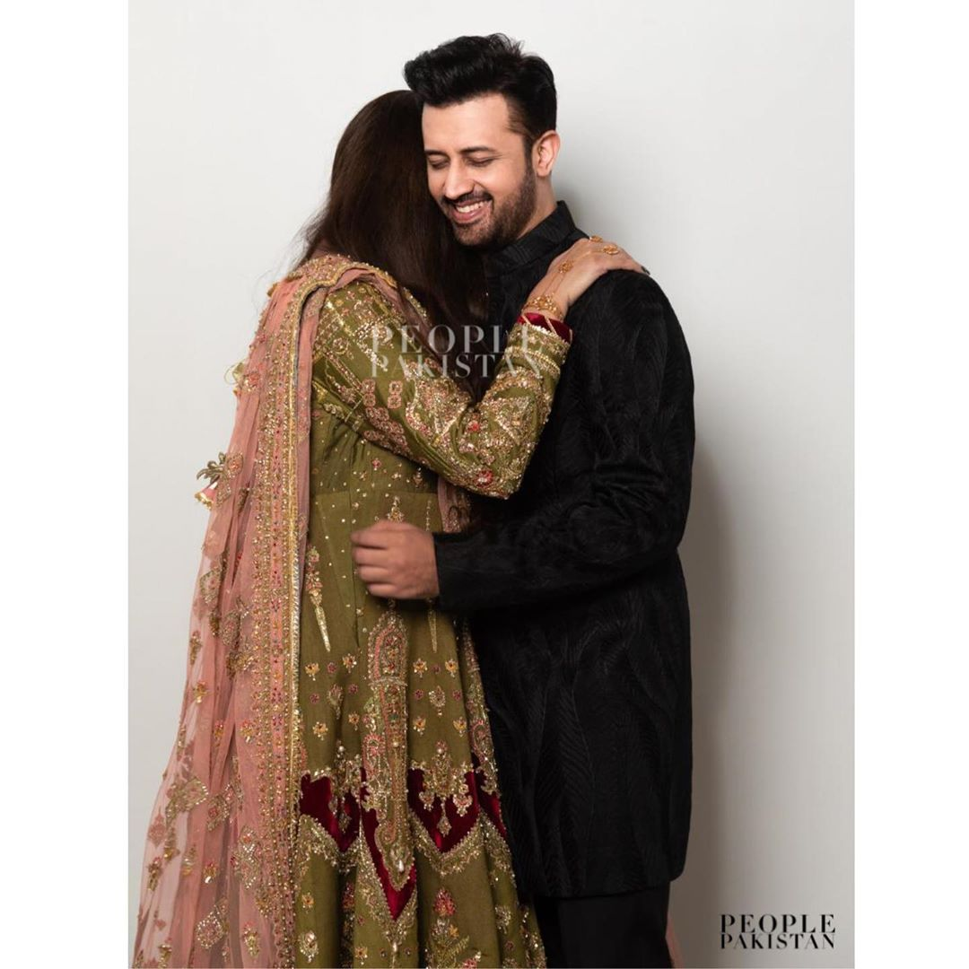 Atif Aslam with his Wife Sarah Spotted at a Wedding Event