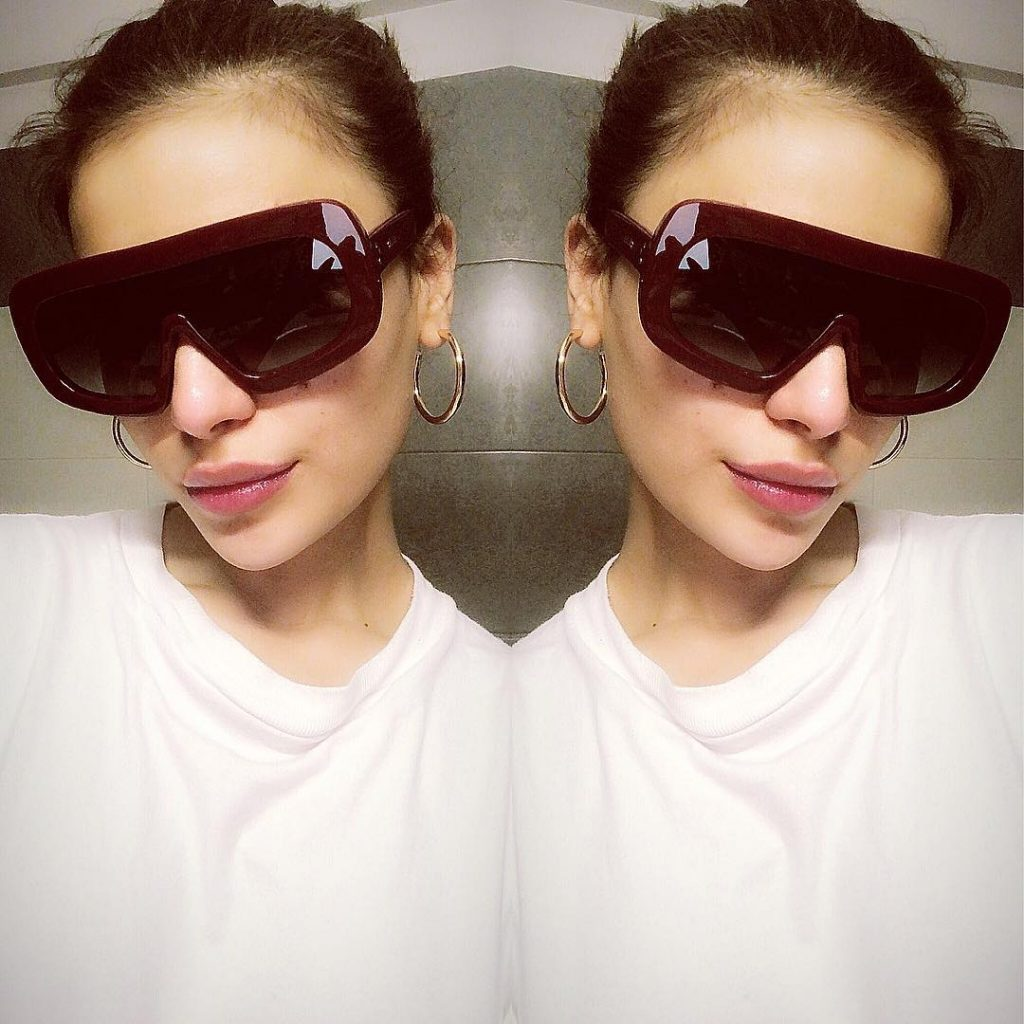 Unique Photos Of Sadaf Kanwal Wearing Sunglasses In Low Light
