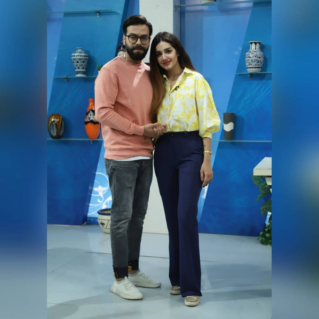 Actress Anum Fayaz with Her Husband at Nadia Khan Show