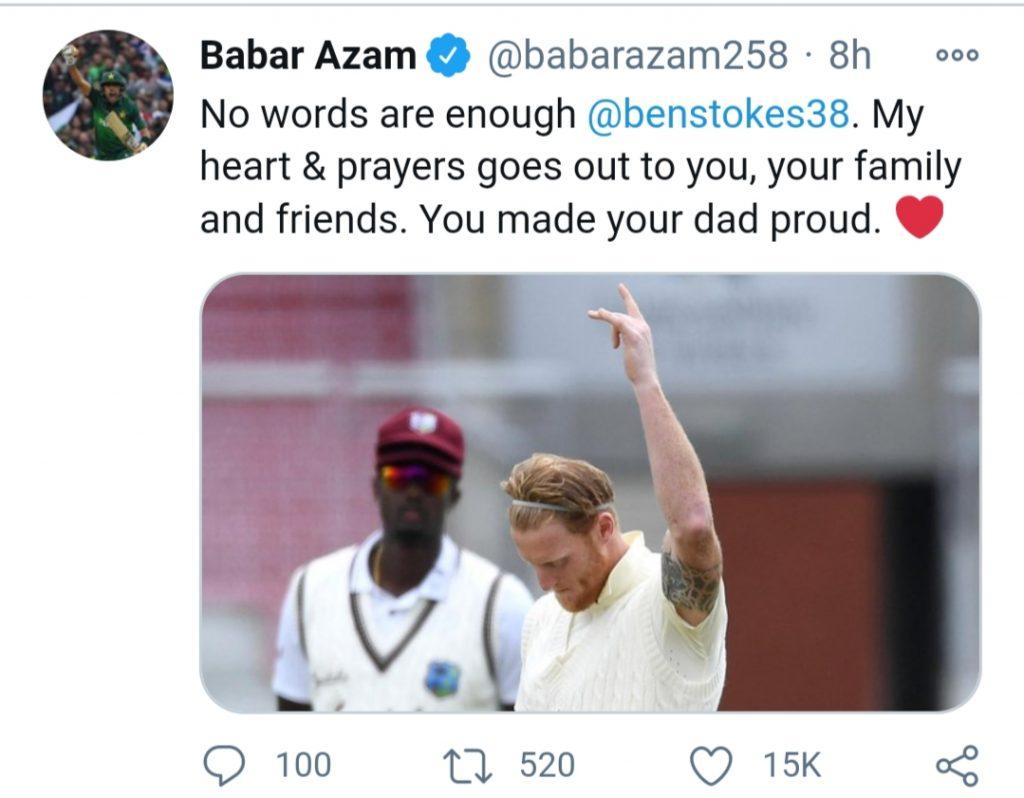 Babar Azam condoles with Ben Stokes