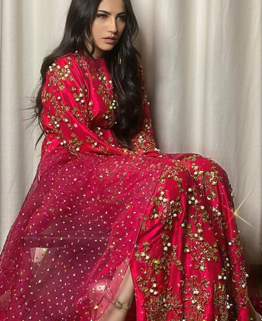 Neelum Muneer Looks Ravishing in Red and Shocking Pink Outfit
