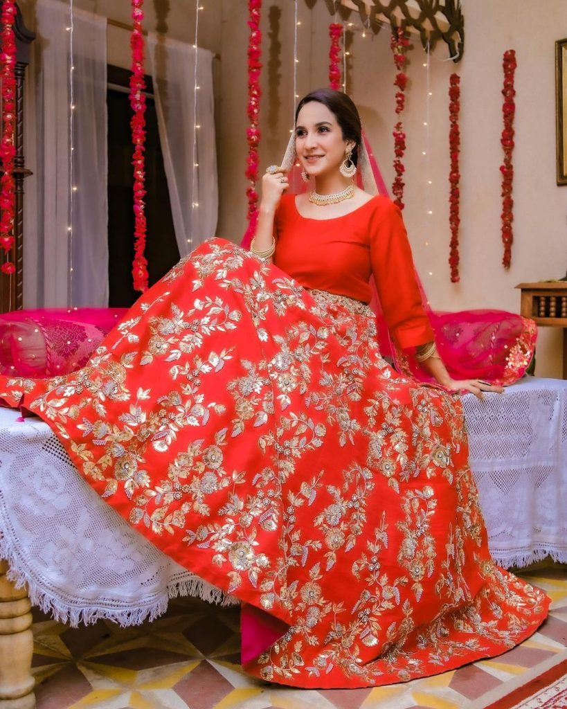 Pictures Of Anoushay Abbasi In Red Gorgeous Dress