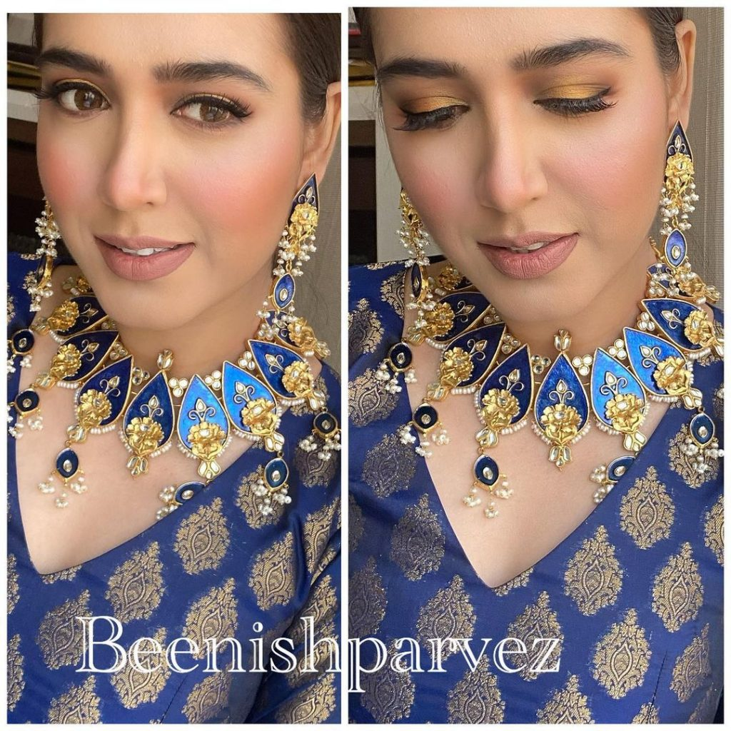 Mansha Pasha Looks Ethereal In Wintry Blue Saree