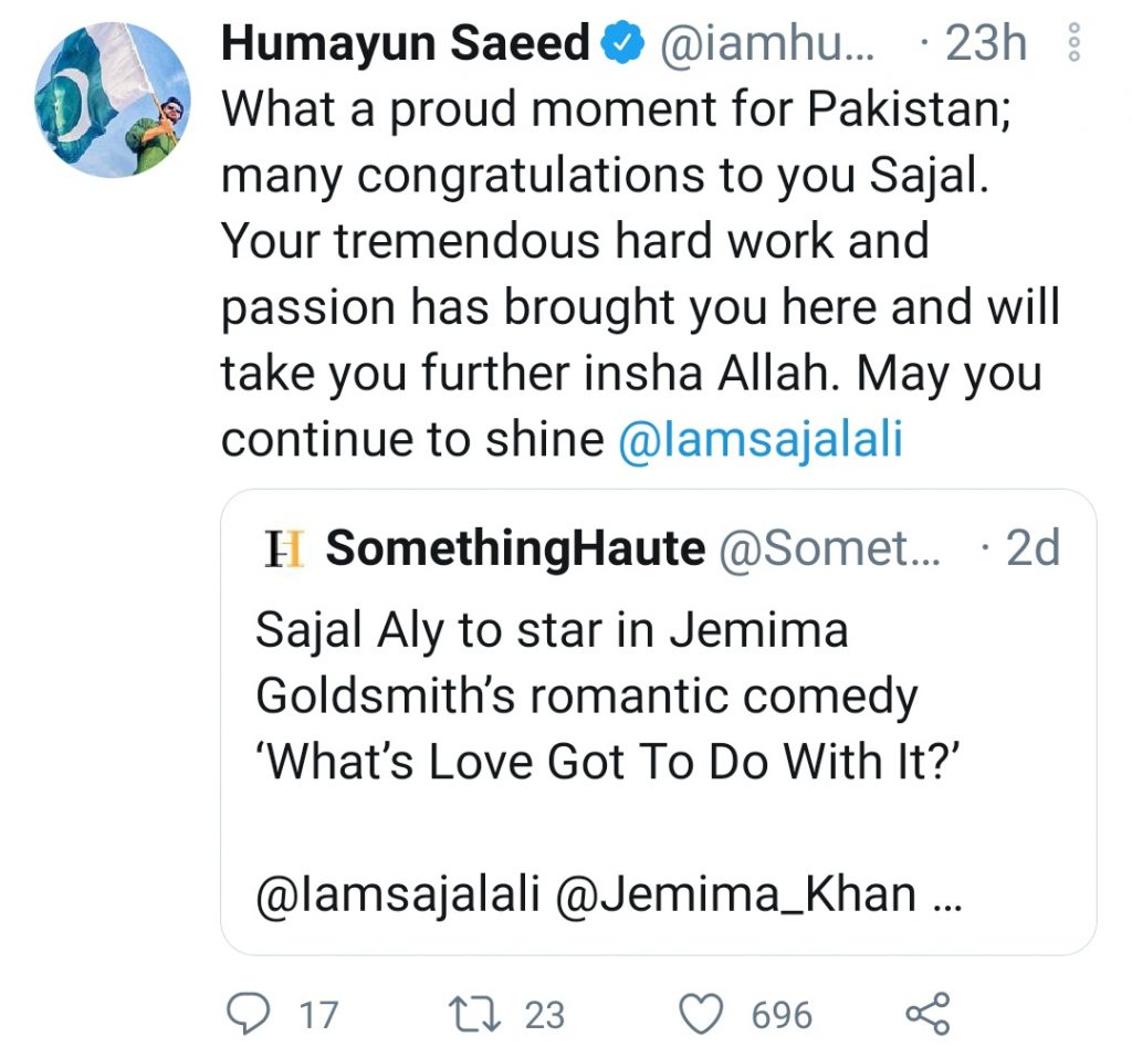 Here's What Humayun Saeed Has to Say to Sajal Aly