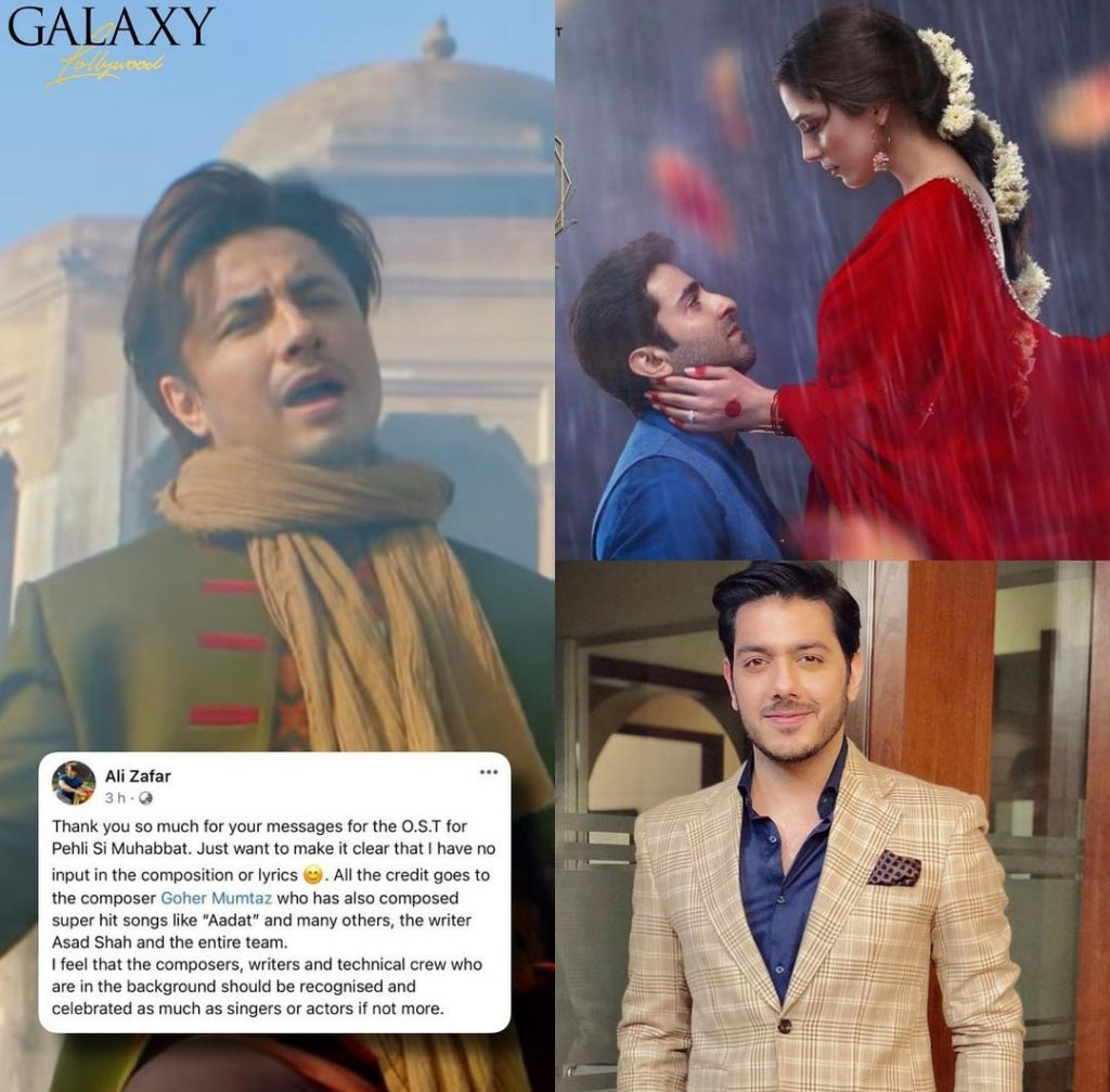 Ali Zafar Gives Due Credits to Goher Mumtaz on His Composition for Pehli Si Muhabbat OST