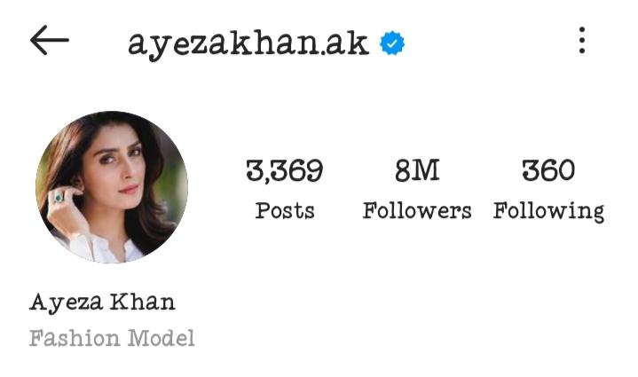 Ayeza Khan Became Most Followed Pakistani Celebrity On Instagram