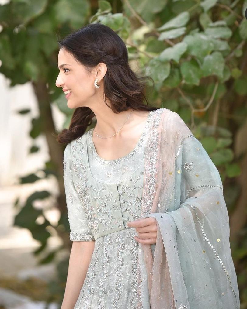 Madiha Imam Looking Gorgeous in Ice-Blue embellished ensemble