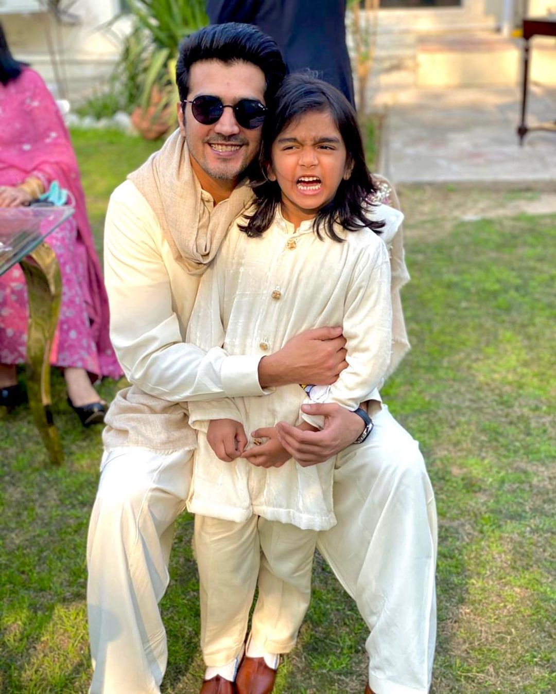 Actor Shahzad Sheikh with his Wife and Kids at a Recent Wedding