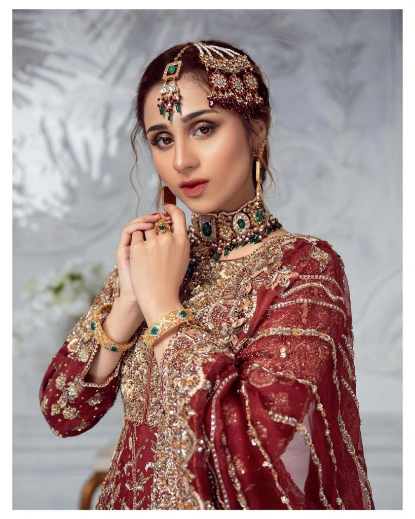 Mashal Khan Looks Ravishing In Deep Red Bridal Ensemble