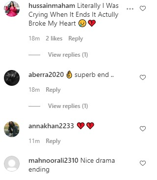 Mohabbat Tujhay Alvida Last Episode - Public Reaction