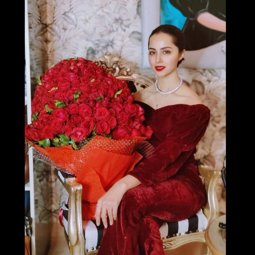 Magnificent Nimra Khan in Sparkling Red Color