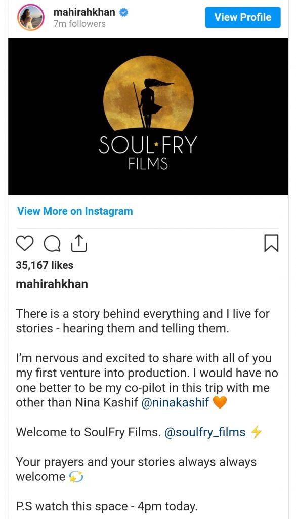 Mahira Khan Venturing Into Production