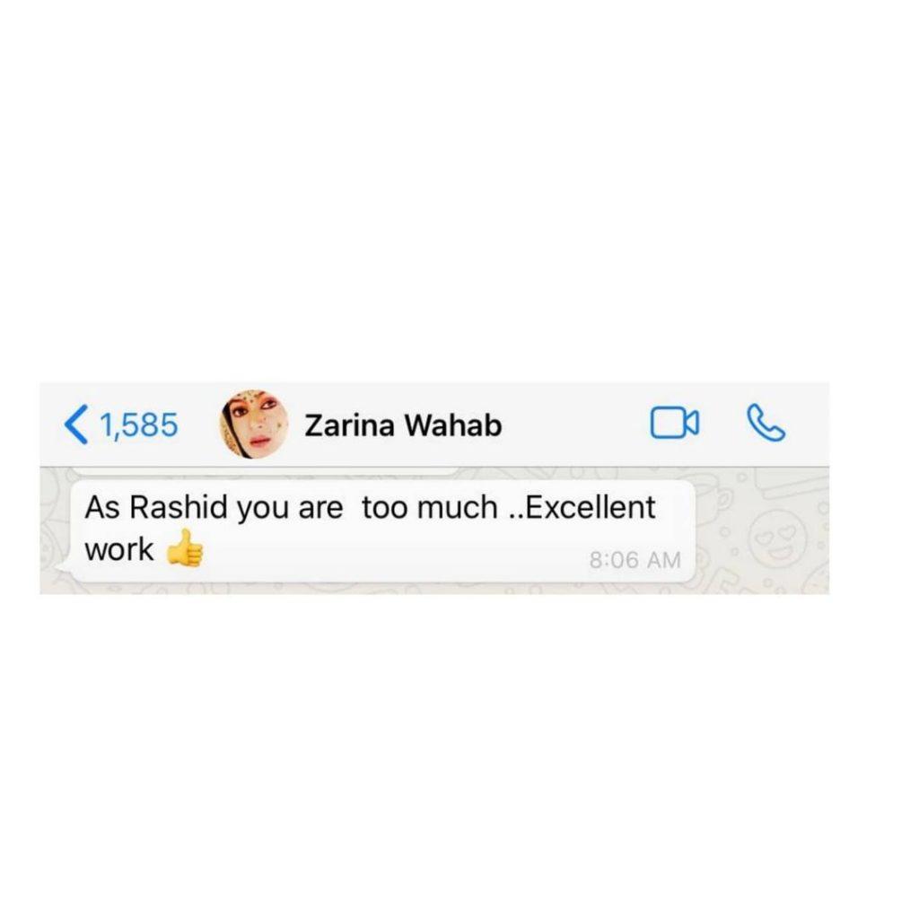 Bollywood Actress Zarina Wahab Praises Actor Ahsan Khan