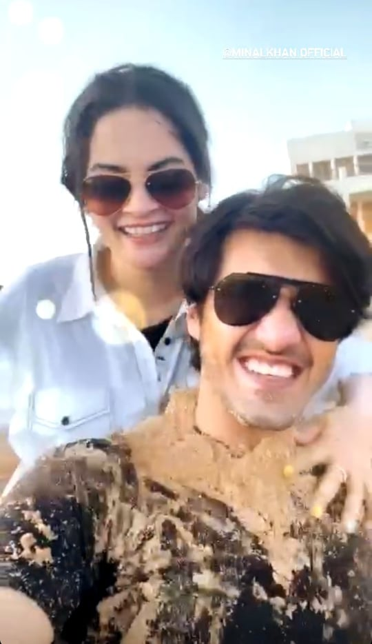 Minal Khan And Ahsan Moshin Having Fun At Beach
