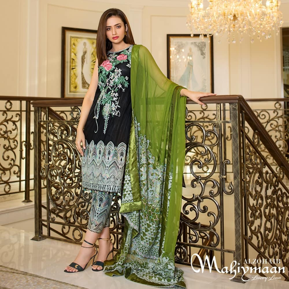 Latest Collection Of Alzohaib Textile Featuring The Gorgeous Sana Javed