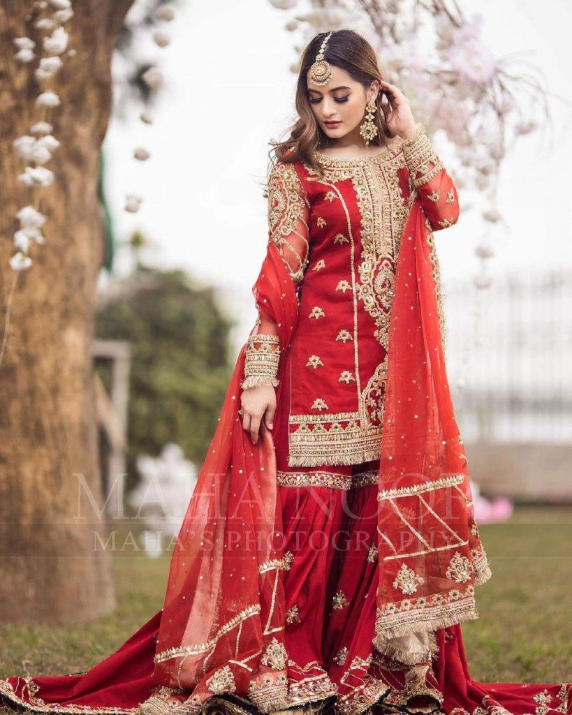 Aiman Khan Looks Ravishing Wearing A Traditional Bridal Ensemble