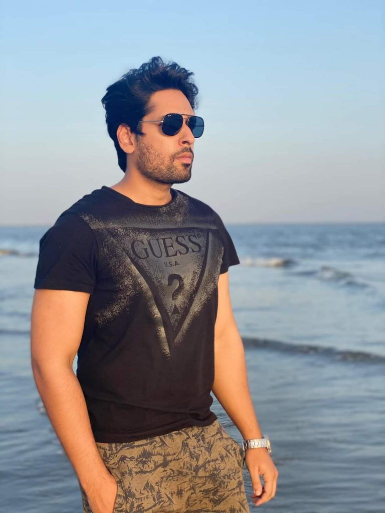 Salman Saeed Beautiful Pictures With Wife From Beach