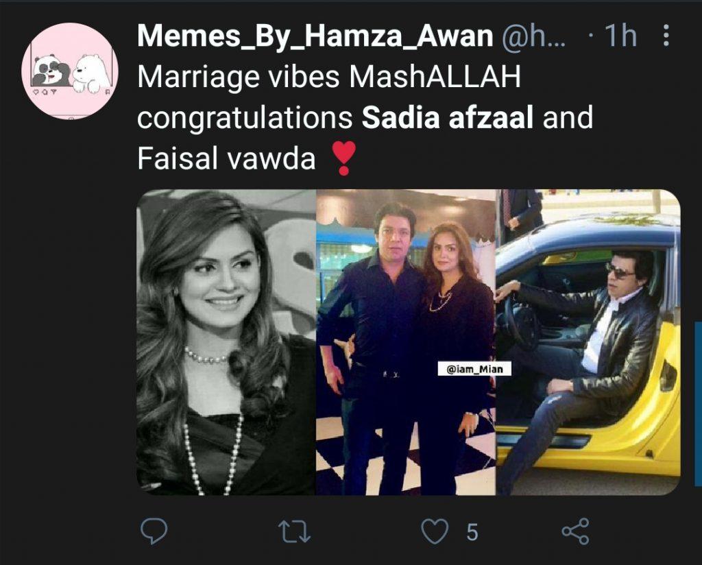 Faisal Vawda And Sadia Afzal Marriage Revealed