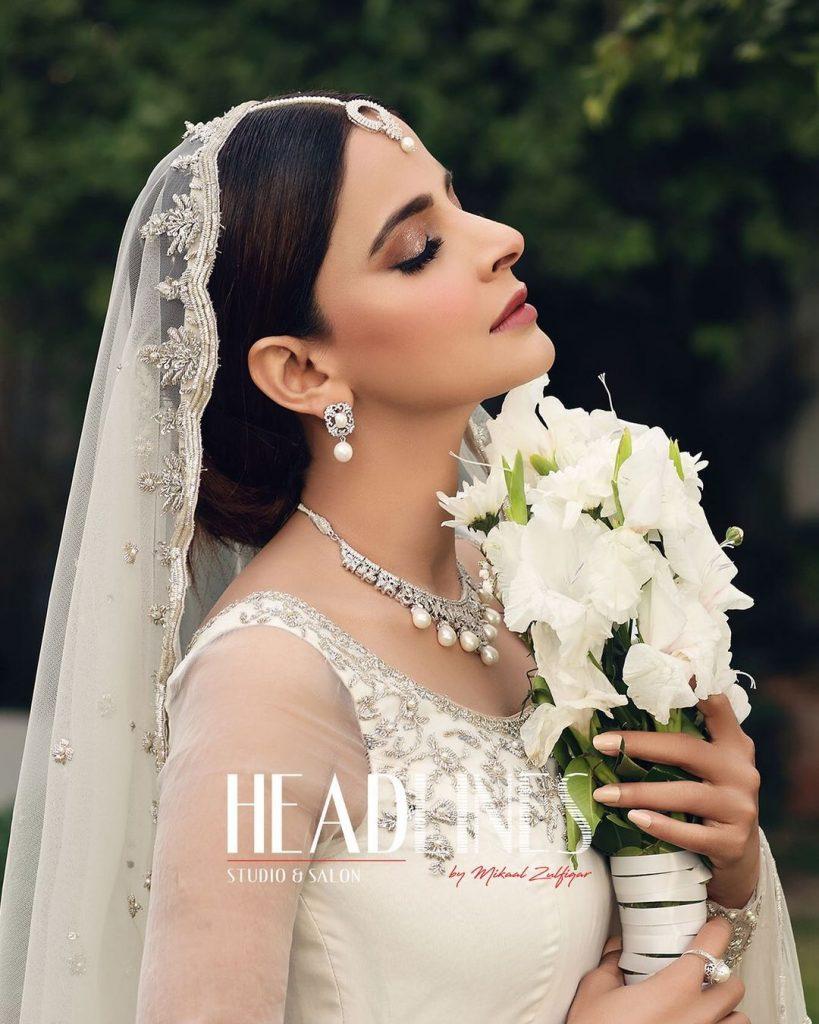 Saba Qamar Looks Drop Dead Gorgeous In Ivory Bridal Ensemble