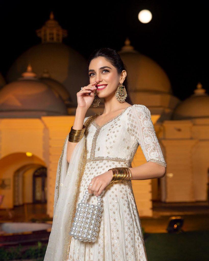Maya Ali Flaunting Beautiful White Pishwas At A Wedding