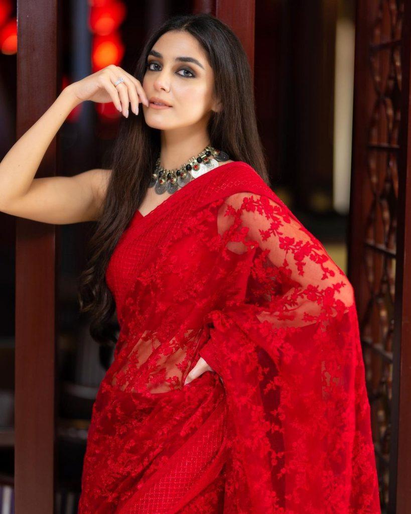 Maya Ali Looks Vibrant In Gorgeous Red Saree By Faiza Saqlain