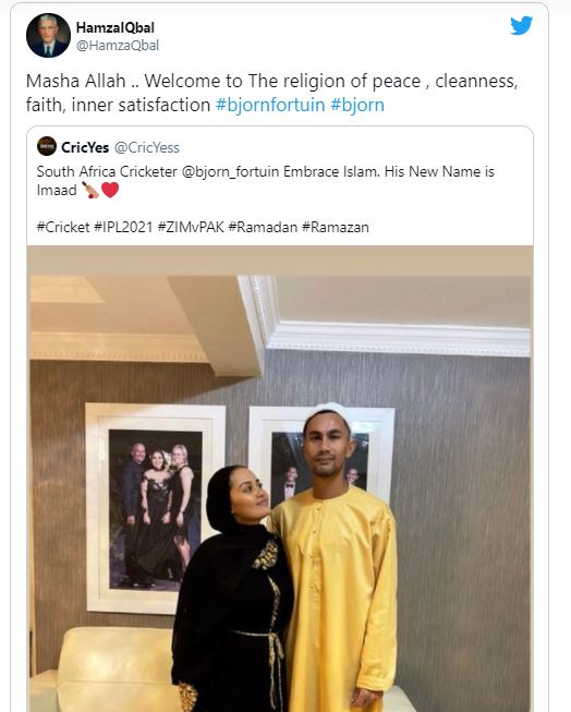 South African Cricketer Bjorn Fortuin Embraces Islam
