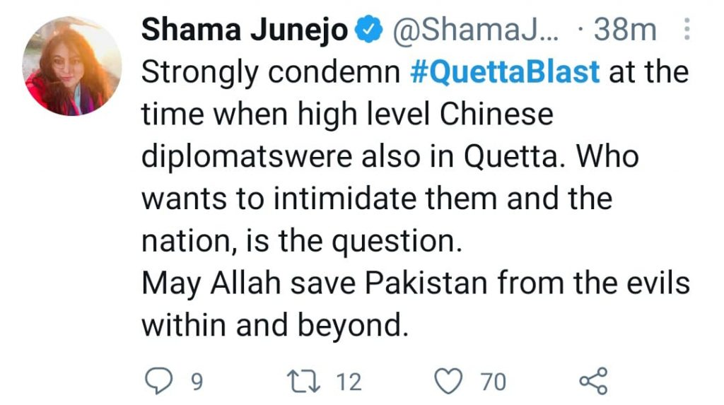 Celebrities Condemn The Blast On Serena Chowk In Quetta