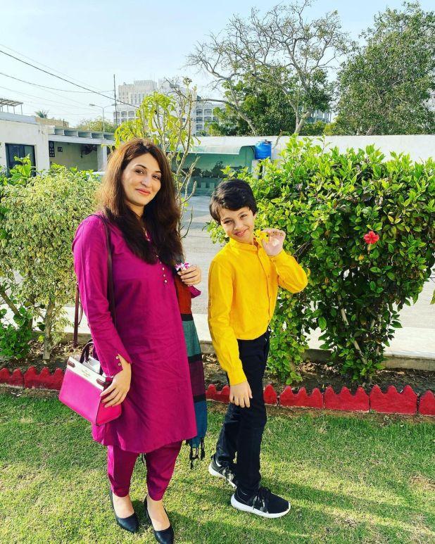 Qurat ul Ain Iqrar with her Son Pehlaaj Iqrar ul Hassan