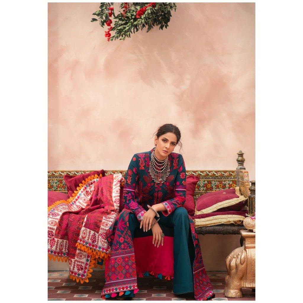 Maryam Hussain's Latest Lawn Collection Featuring Saba Qamar