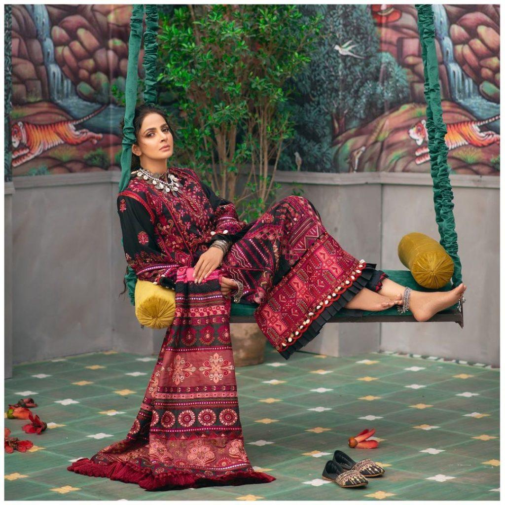Maryam Hussain's Latest Luxury Lawn Collection Featuring Saba Qamar