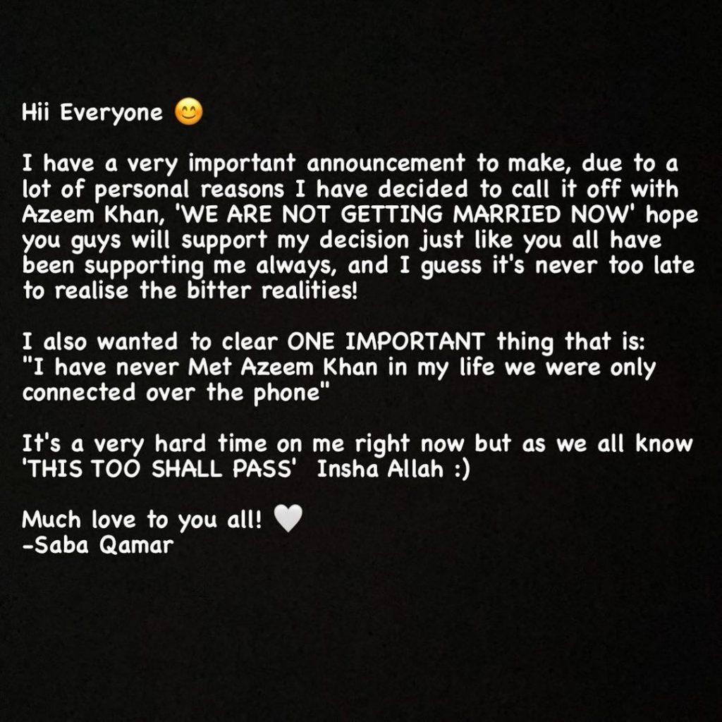 Saba Qamar Call It Quits With Azeem Khan