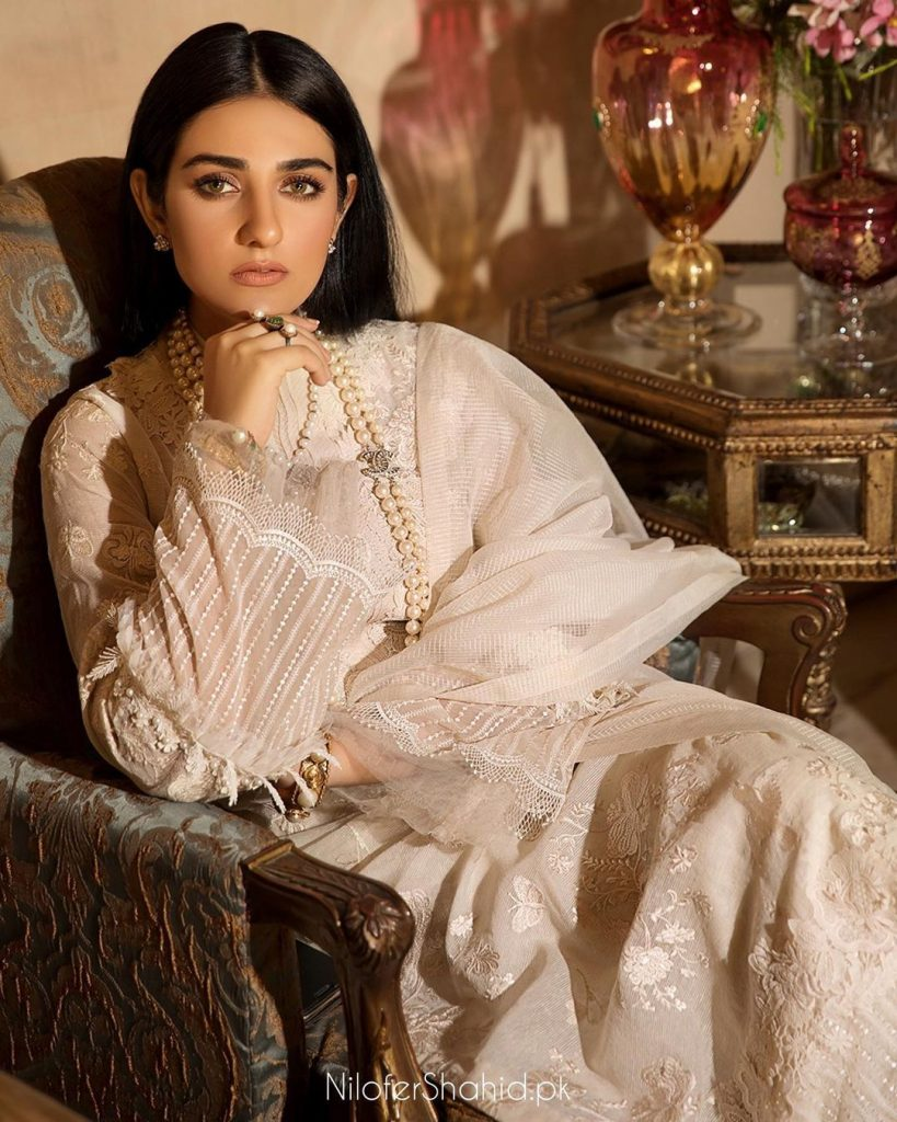 Meeras By Nilofer Shahid Latest Collection Featuring Sarah Khan