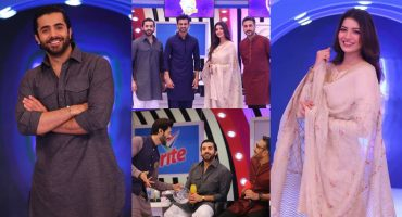 Few Shots Of Sheheryar Munawar And Rabia Butt From The Set Of JPL