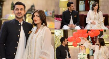 Mariam Ansari With Her Husband Owais Khan At The Set Of Shan-e-Suhoor