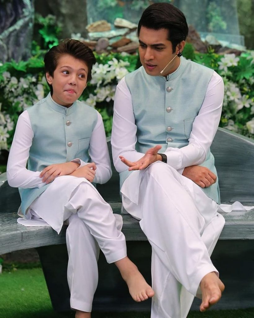 Iqrar-ul-Hassan And Pehlaaj Iqrar Pictured Together On Set Of Shan-e-Ramzan