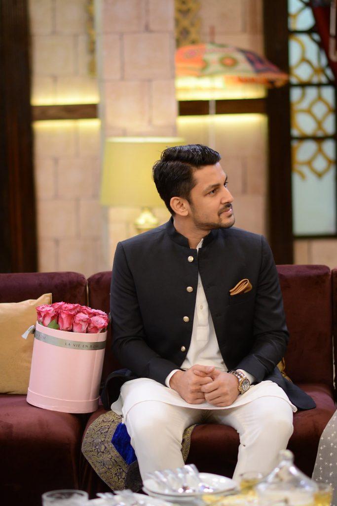 Mariam Ansari With Her Husband Owais Khan At The Set Of Shan-e-Suhoor