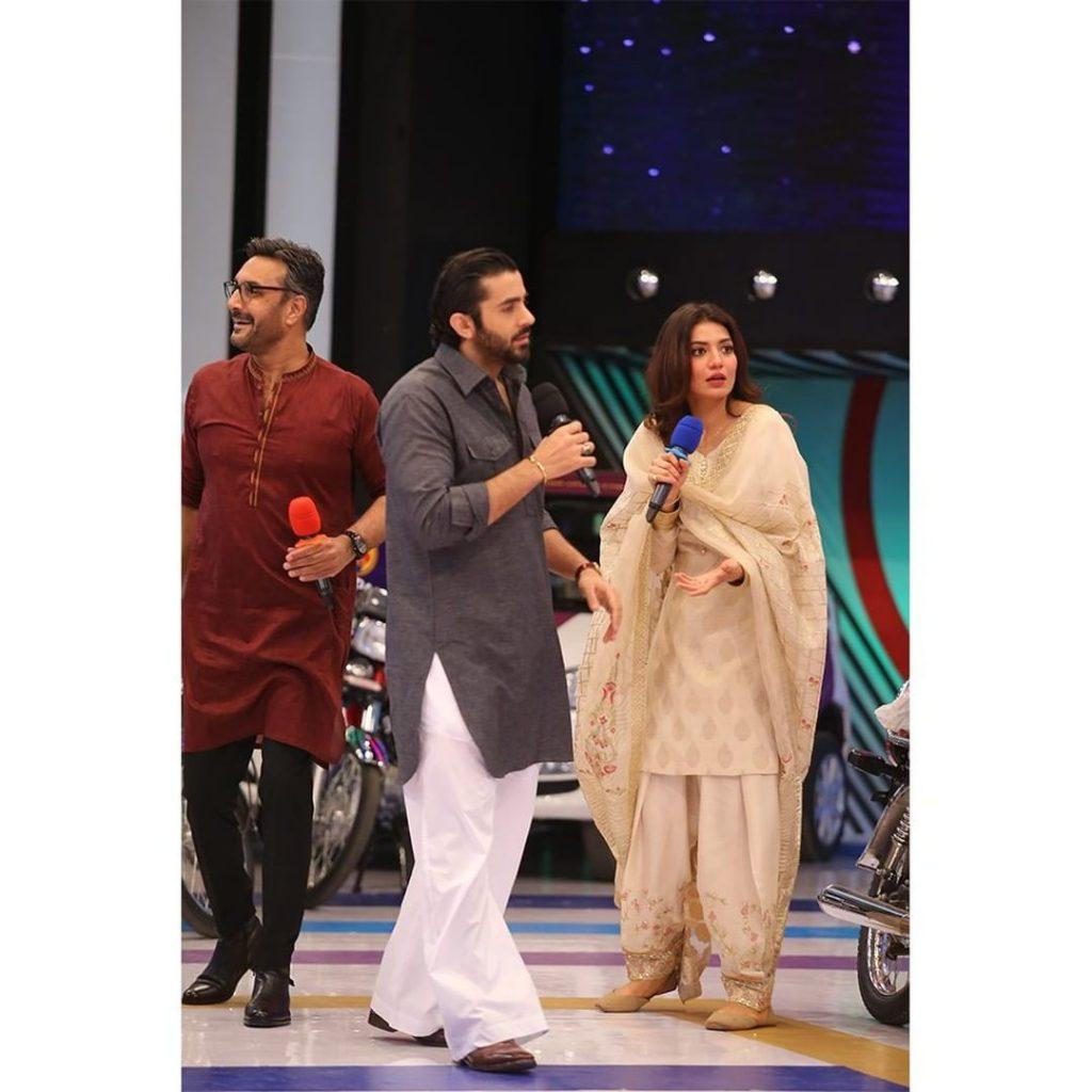 Few Shots Of Sheheryar Munawar And Rabia Butt From The Set Of JPL