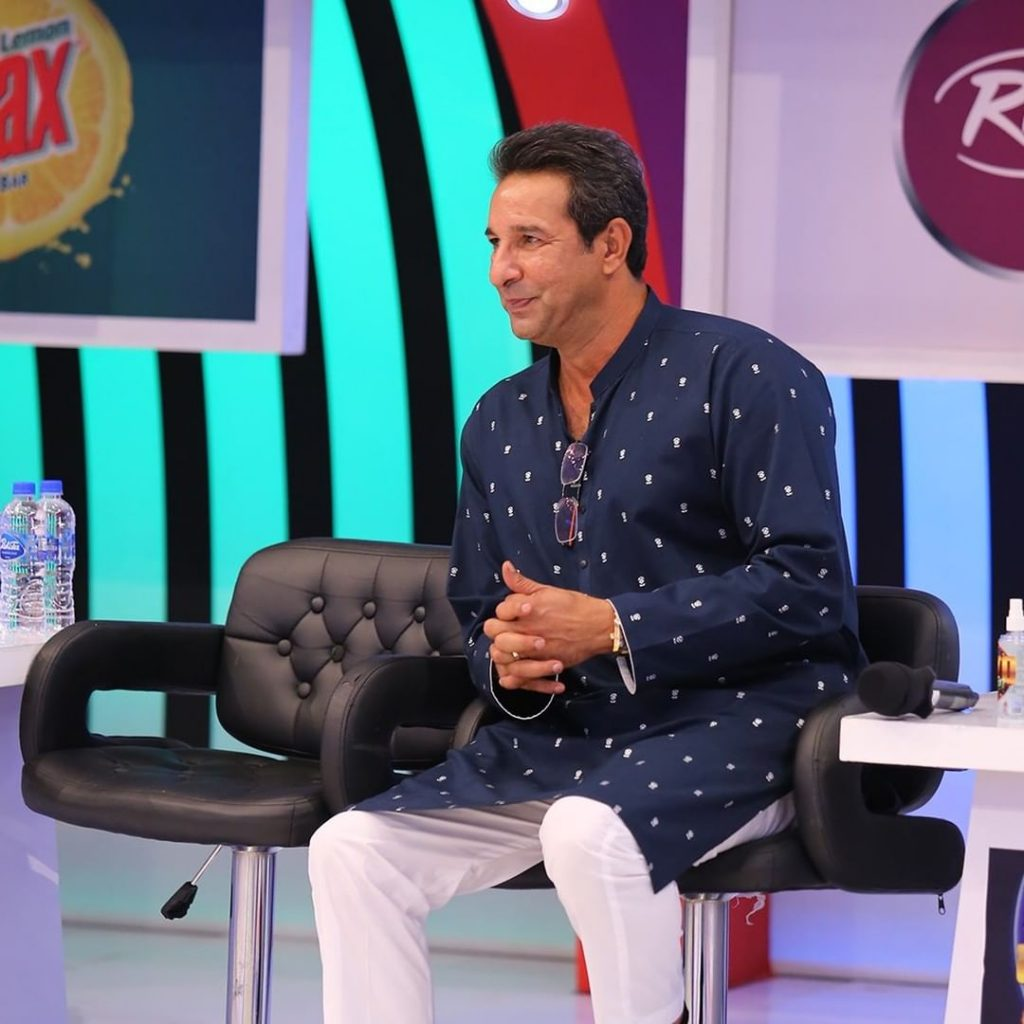 Wasim Akram And Maya Ali On The Set Of JPL