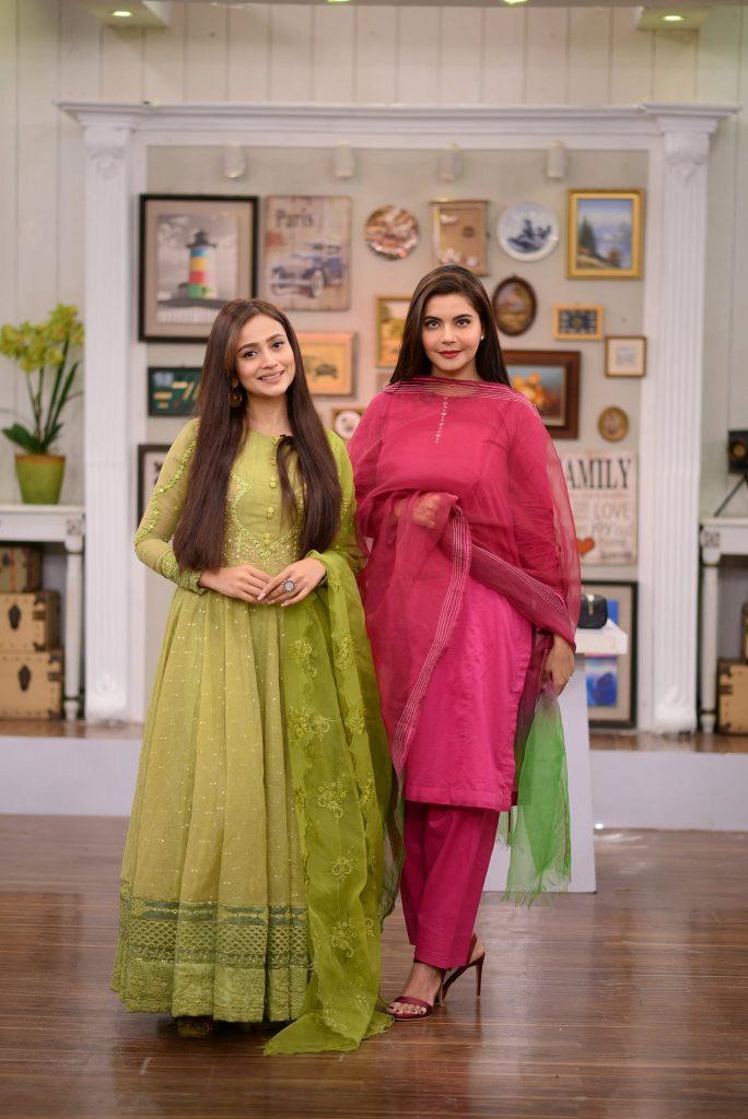 Zarnish Khan And Sadia Faisal At The Set Of GMP