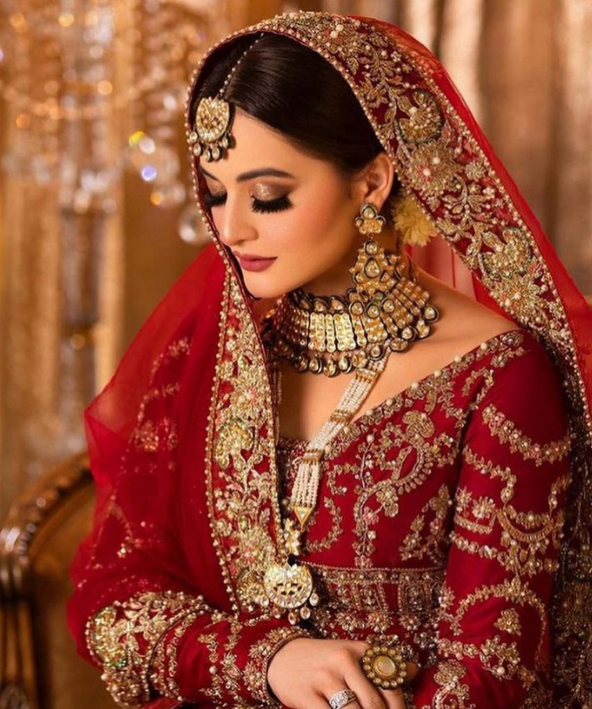 Aiman Khan Gives Traditional Vibes In Deep Red Bridal Ensemble