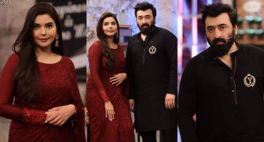 """Nida Yasir And Yasir Nawaz At The Set Of """"Time Out With Ahsan Khan"""""""