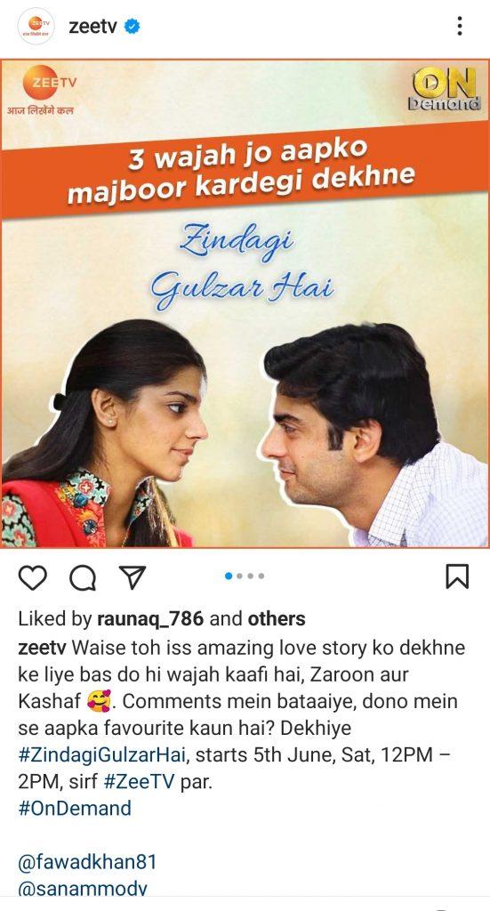Indian Channel Zee TV To Air Zindagi Gulzar Hai