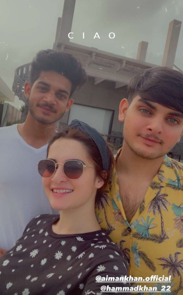 Muneeb Butt And Aiman Having A Great Time With Amal Muneeb At Beech